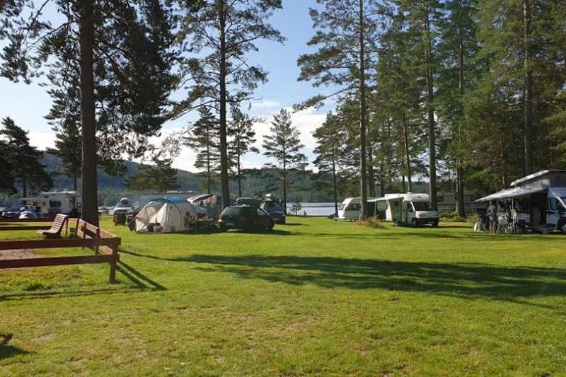 Hornnes Camping kamperen op een veldje